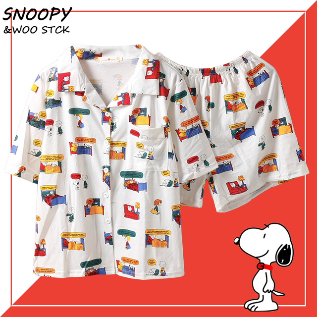 Caiyier Stripe Cute Print Pajamas Set Cotton Short Sleeve Sleepwear With Eye Mask Casual Nightwear Ladies Korean Pijama Mujer 1