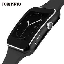 Smart watch x6 com câmera, relógio inteligente, 1.54 polegadas, com tela touch, suporte para cartão sim tf, bluetooth, pulseira esportiva