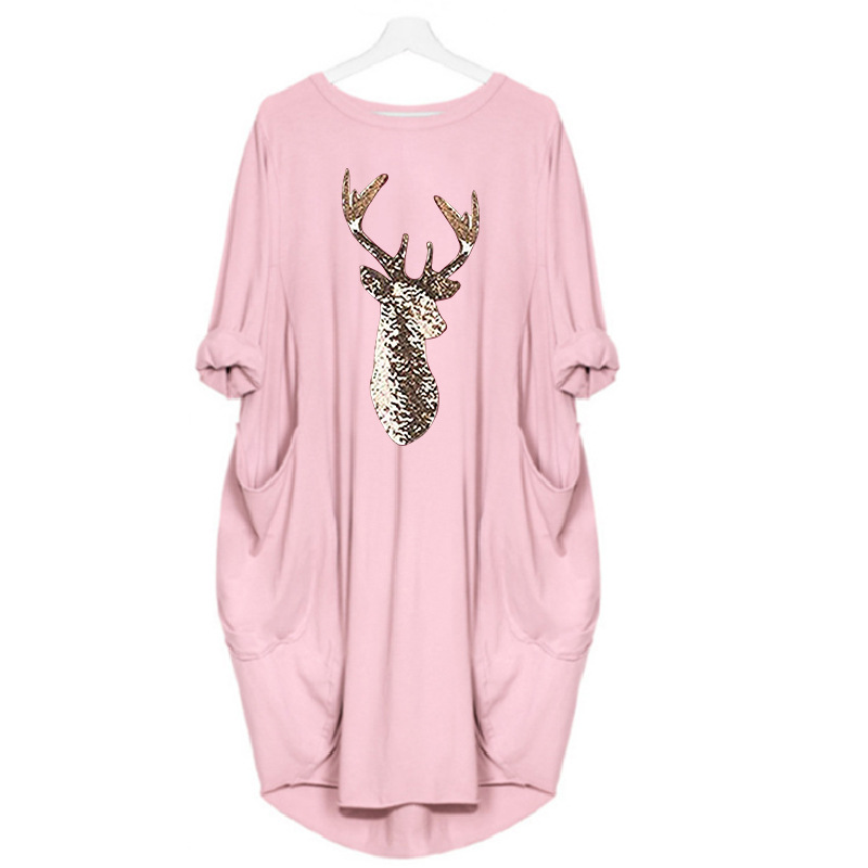 Autumn And Winter S-5xl Large Size Dress Women Round Neck Christmas Pattern Print Casual Loose Long Sleeve Xl Dress