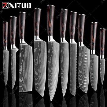 """XITUO 8 """"pouces japonais couteaux de cuisine Laser damas modèle chef couteau pointu Santoku couperet tranchage couteaux utilitaires outil EDC nouveau"""