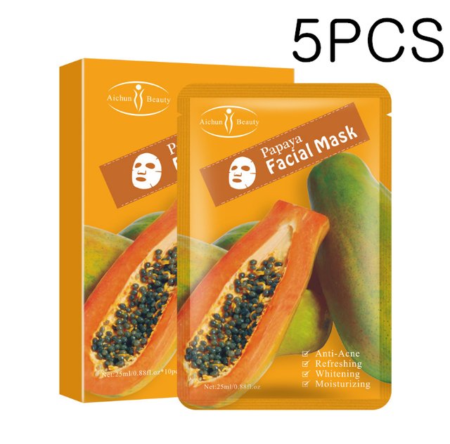 Papaya Facial Mask For The Face Korea Cosmetic Moisturizing Fabric Face Masks Care Wrinkle Acne Beauty Face Film Mask Treatments Masks Aliexpress