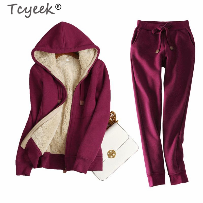Tcyeek Tracksuit Women Two Piece Set Costumes Winter Female Sets 2019 Loose Fit Autumn Thick Warm Hooded Sweater Shirts T02LW517