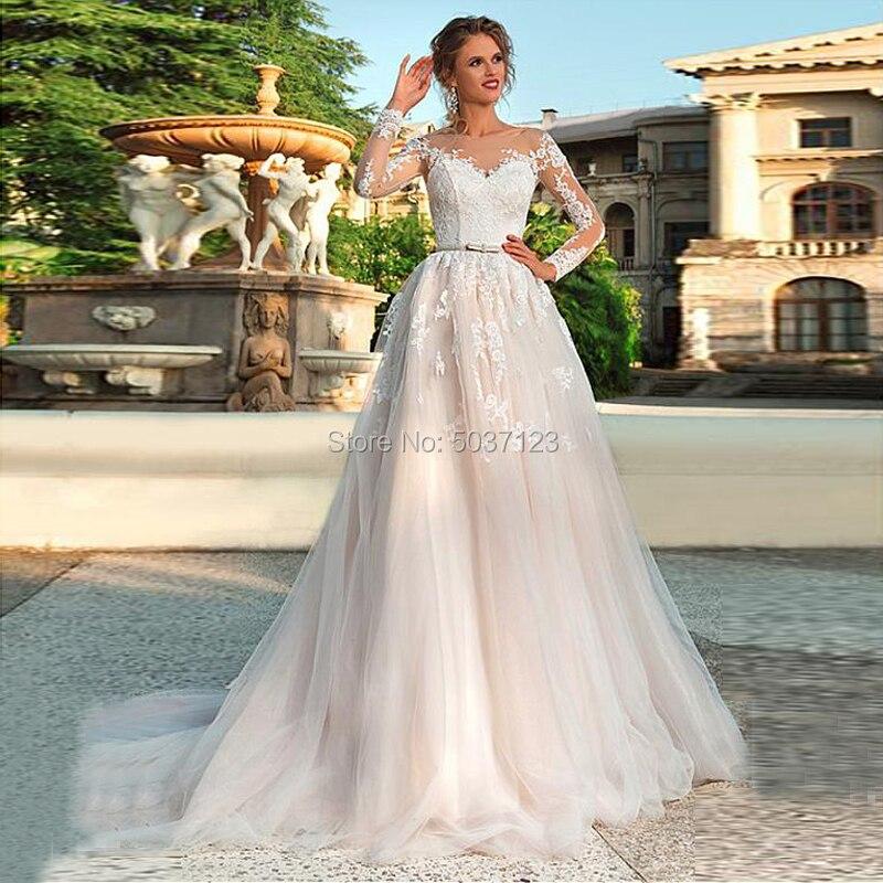 Tulle A Line Wedding Dresses Long Sleeves Scoop Lace Appliques Bridal Gown Court Train Button Illusion Lace Up Vestido De Noiva