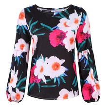 2019 Women Tops Fashion Womens Plus Size  Floral Print Loose Shirt Long Sleeve Blouse 8.23