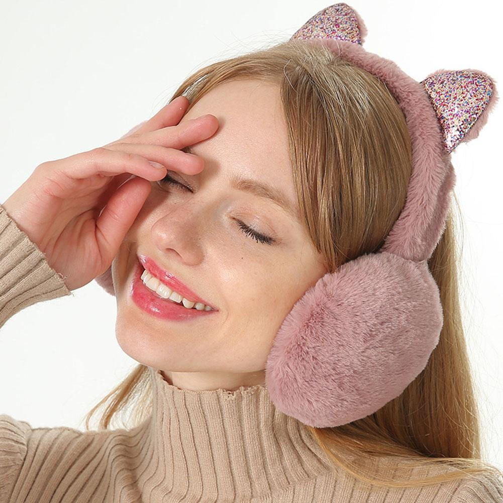 1PC Foldable Cat Ear Earmuffs Sequin Women Girl Fur Plush Ear Warmer Muffs Glitter Headband Cartoon 3D Earlap Cover Solid Color