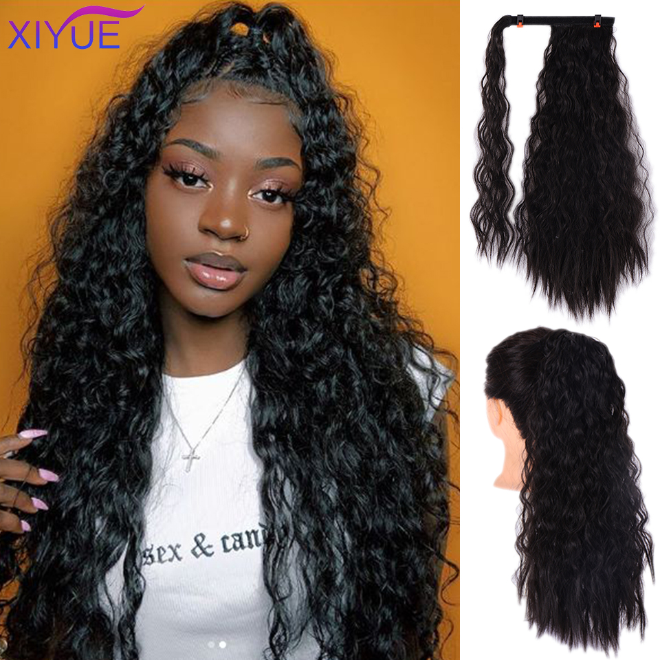 Long Afro Kinky Curly Ponytail Extension 20 Inches Synthetic Drawstring Corn Hair Piece For Women Black Brown Hair Extensions