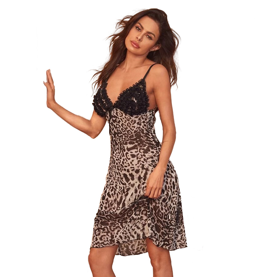 Leopard Cami Night Dress Spaghetti Strap V Neck Babydoll Sexy Appliques Nightgown Mesh Home Dress