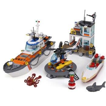 844pcs Coast Guard Headquarters Building Blocks Bricks Lepining City 60167 Christmas Gift Toys for Children