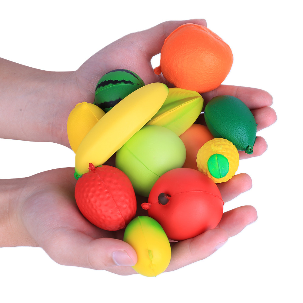 12pcs Cute Fixed Style Color Small Fruits Slow Rebound Toys Stress Reliever Scented Super Slow Rising Squeeze Toy  L113