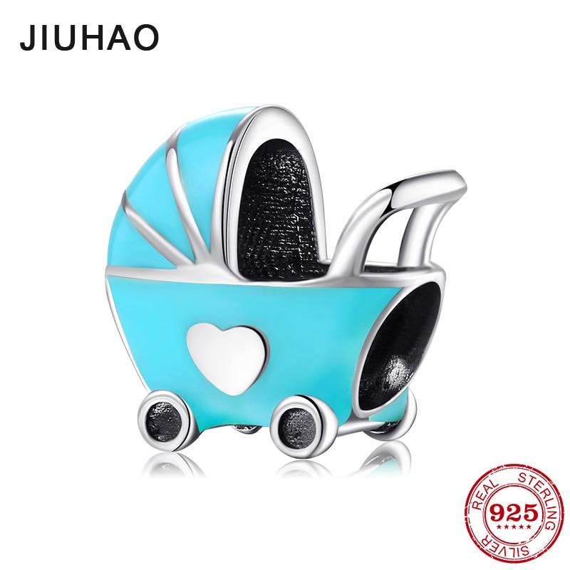 2018 fashion blue enamel Baby carriage 925 Sterling Silver fine Beads Fit Original JIUHAO Charm Bracelet Jewelry making(China)