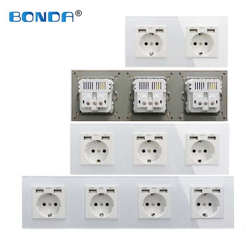 BONDA 16A USB power socket, EU standard, socket panel, three-layer power socket, wall socket, crystal tempered glass, AC110-250V