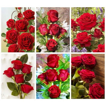 Huacan Diamond Painting 5d Flower Mosaic Rose Farmhouse Home Decor Embroidery Art Full Drill