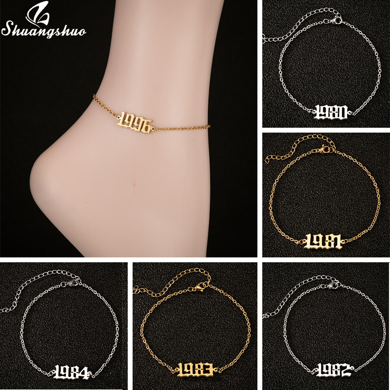 Fashion Femme 1990 1991 1992 1993 1994 Birth Year Anklet Stainless Steel Name Number Ankle Leg Bracelet Jewelry Birthday Gift