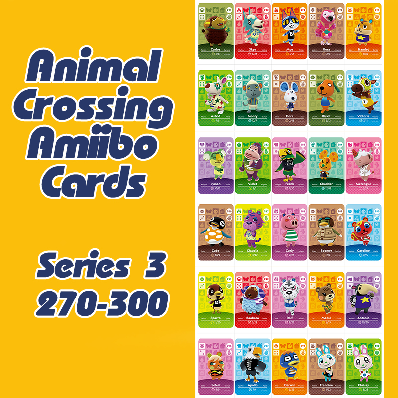 New Animal Crossing New Horizons Amiibo Card For NS Switch 3DS Game Lobo Card Set Series 3 (271-300)