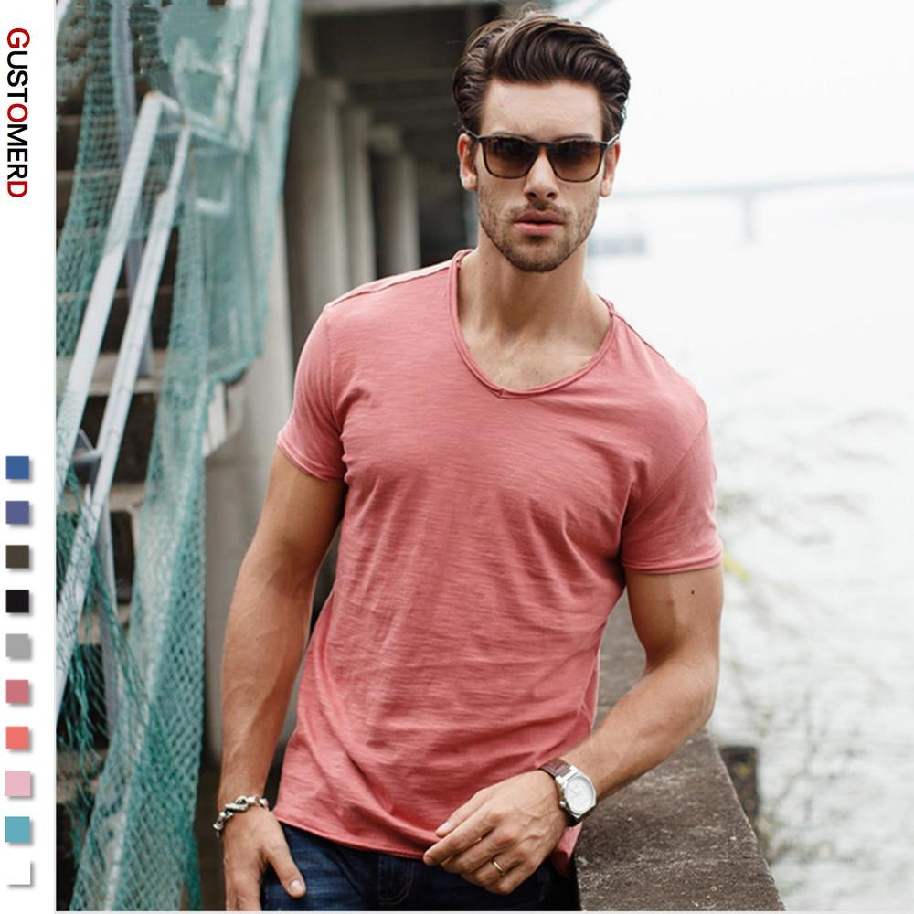 GustOmerD Brand Quality T shirt Men's V-neck Slim Fit Pure Cotton T-shirt Fashion Short Sleeve T shirt Men's Tops Casual Tshirt