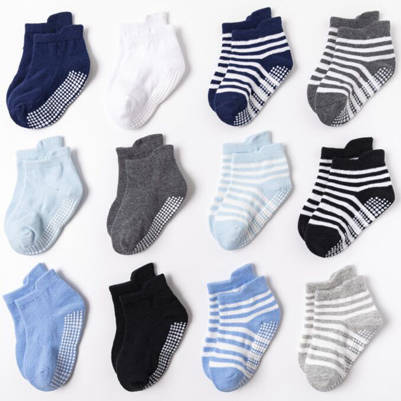 6 Pairs of Socks Newborn Kids 1-3 Years old Baby anti-sliding Cotton Socks for infant boys and girls 12-36 Months