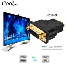 Convertidor adaptador DVI 24 1 macho a HDMI 1080P, enchufe chapado macho a hembra, a DVI Cable HDMI, convertidor para Monitor de proyector HDTV