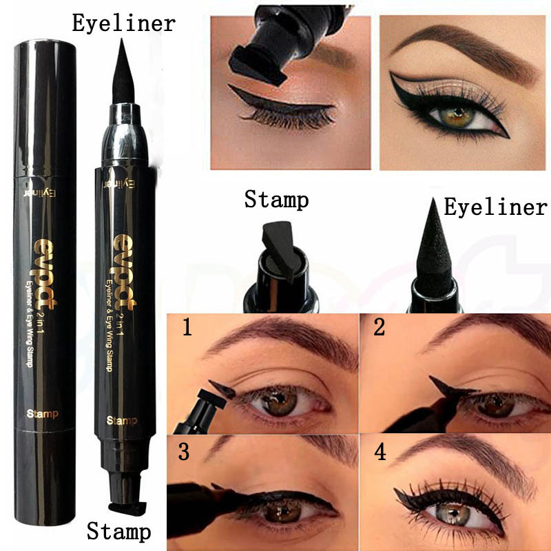 2 In 1 Makeup Black Eye Liner Liquid Pencil Quick Dry Waterproof Double-ended Makeup Stamps Wing Eyeliner Pencil TSLM2