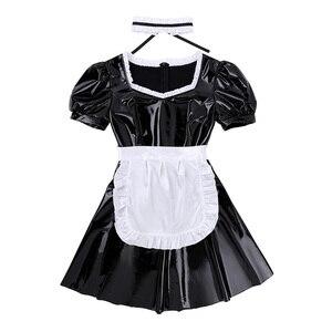 Image 4 - Женский костюм для косплея французской горничной для взрослых, вечерние платья трапециевидной формы с пышными рукавами из лакированной кожи с фартуком и повязкой на голову