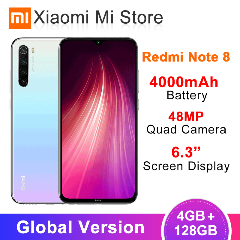 Global Version Xiaomi Redmi Note 8 4GB RAM 128GB ROM 48MP Rear Quad Camera Mobile Phone Snapdragon 665 Octa Core 6.3
