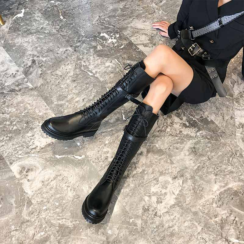 krazing pot genuine leather lace up med heels round toe punk superstar equestrian boots buckle fasteners over-the-knee boots 3