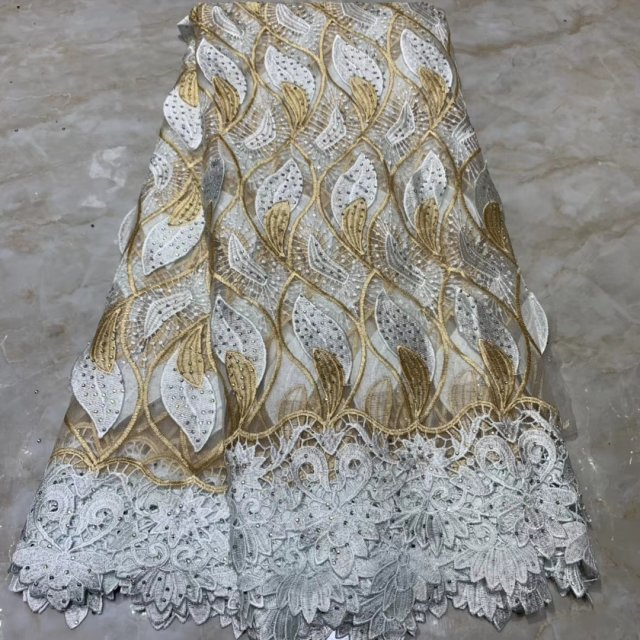 Latest African Lace Fabric  French Lace With Stones Flower Design  Embroidery  Fabric African Nigerian Ghana  Party Dress