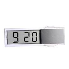 Auto Car Electronic Clock Mini Digital Durable Transparent LCD Display With Sucker Universal