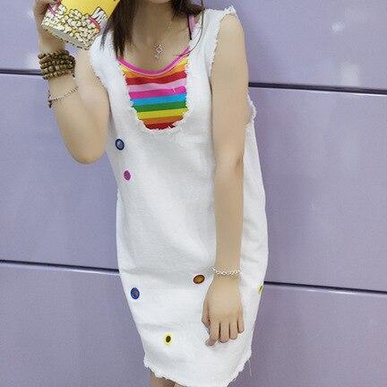 Photo Shoot New Style Loose Cowboy Suspender Strap Dress Women's Korean-style Vest Skirt Rainbow Camisole Two-Piece Set 3-22
