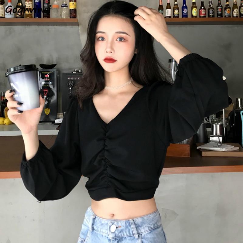 Blusen Frauen V-ausschnitt Lange Puff Sleeve Crop Tops Elegante Sexy Gefaltetes Festes Streetwear Damen Retro Stilvolle Retro Schlank Shirts Neue