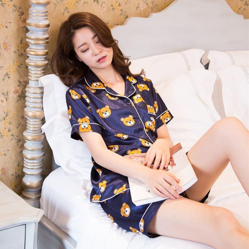 Pyjamas Women Full Sleeve Faux Silk Satin Pajama Sets Cartoon Bear Short Sleeves Pajamas For Women Sleepwear Sets