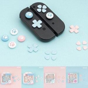 Image 1 - D pad לנוע צלב כיוון כפתור ABXY X מפתח מדבקת ג ויסטיק אגודל מקל אחיזת כובע כיסוי עבור Nintend מתג NS שמחה קון עור מקרה