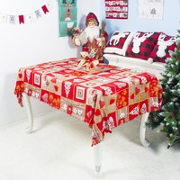 Polyester Printed Christmas Table Cloth Rectangle Decorative Table Covers Washable Dining Table Cover Holiday Decorations