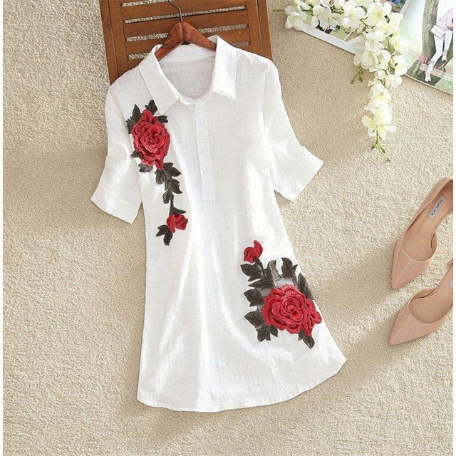 Women Spring Summer Style Embroidery Blouses Shirts Lady Casual Short Sleeve Turn-down Collar blusas Tops ZZ0556 1