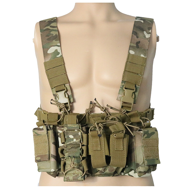 Outdoor Hunting Vest Tactical MOLLE Triple Open-Top Mag Pouch FAST AK AR M4 FAMAS Mag Pouch With Shaped Suspender Shoulder Strap