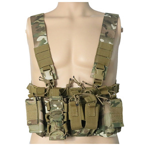 Outdoor Hunting Vest Tactical Triple Open-Top Mag Pouch FAST AK AR M4 FAMAS Mag Pouch With shaped Suspender Shoulder Strap(China)