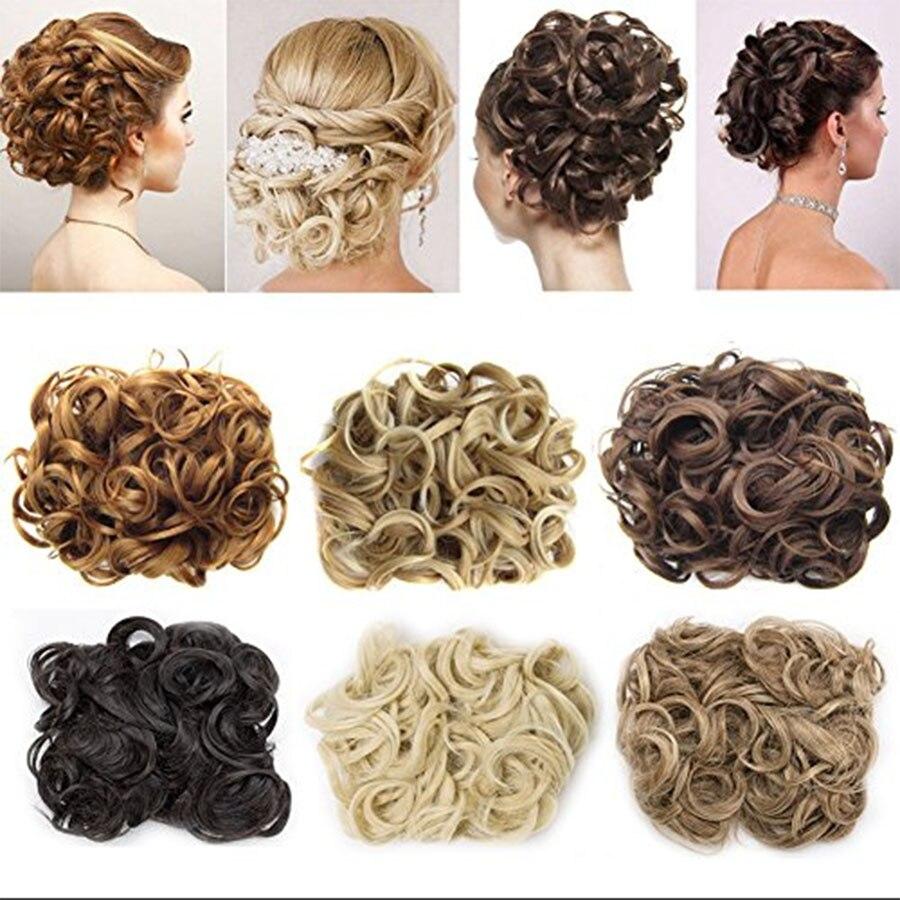 LVHAN Women Elastic Cord Clip In High Temperature Synthetic Fiber Curly Hair Bun Headwear Synthetic Chignon For White