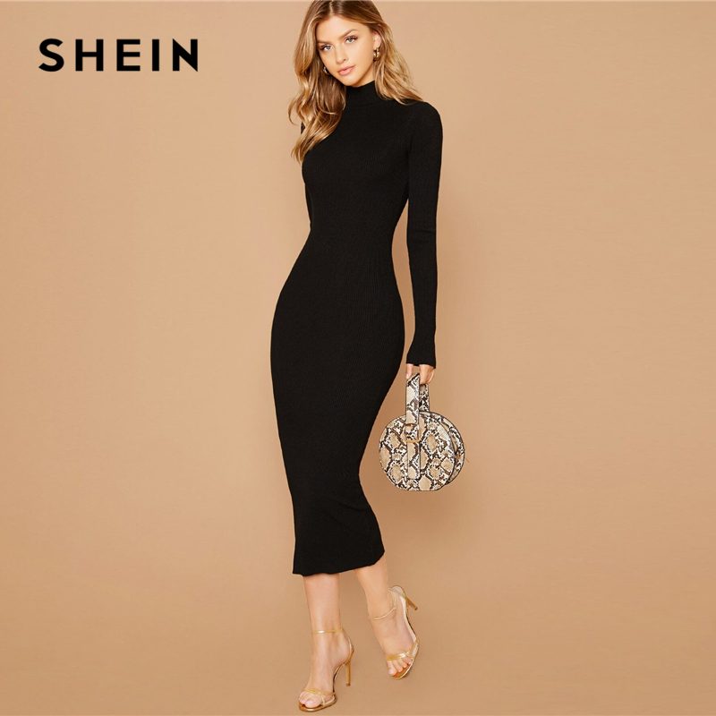 SHEIN Black Stand Collar Ribbed Knit Bodycon Dress Women Autumn Solid Long Sleeve Office Ladies Form Fitted Pencil Long Dresses