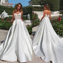 Eenvoudige beach satin trouwjurk 2020 nieuwe bruids jurk