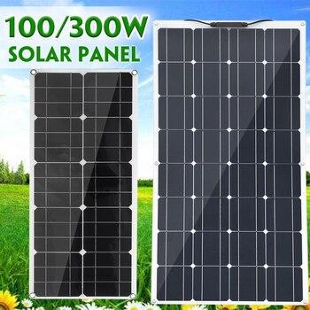 Nuevo Panel Solar de 100 W/300 W Placa de Banco de energía USB doble placa externa de carga de batería Solar de cocodrilo clips cargador de coche 20V
