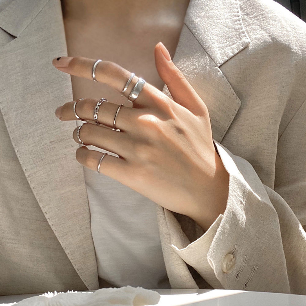7 шт. панк твист уплотнительное кольцо Ювелирные наборы для женщин в стиле хип-хоп, в минималистском стиле; Цвет золотистый, серебристый Цвет...