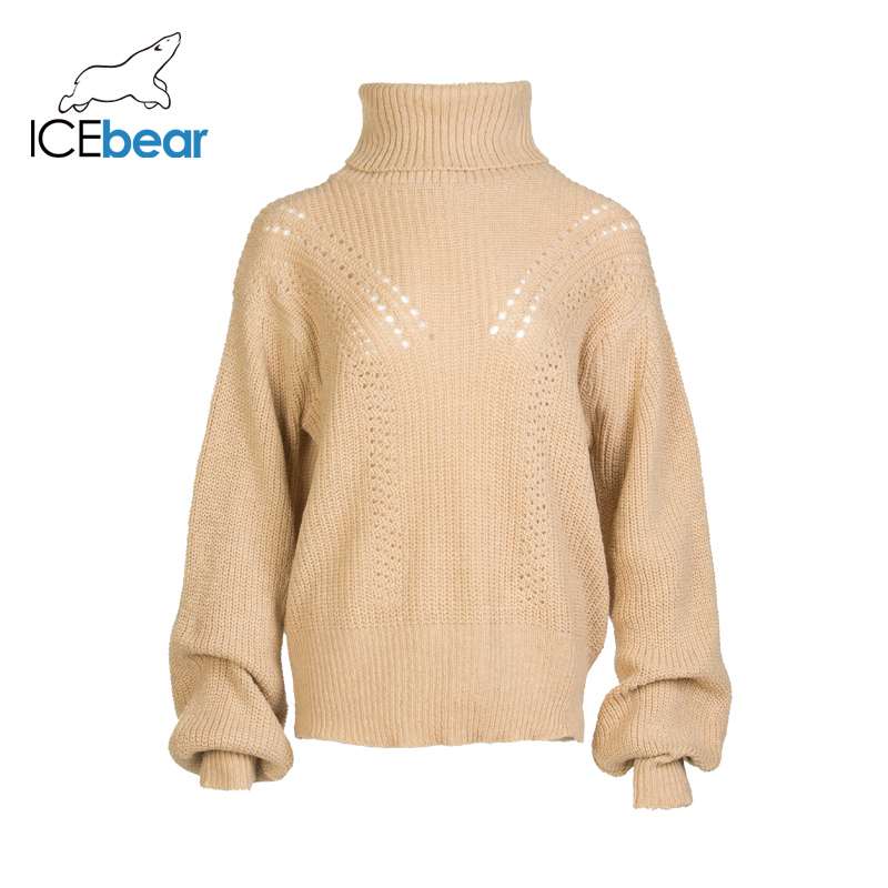 ICEbear 2019 Autumn And Winter New Solid Color Loose Casual High Collar Twisted Sweater Female Wool Knit Top AW-128