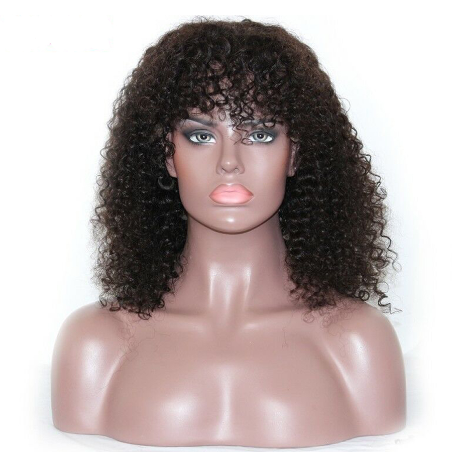 IVogue Afro Kinky Curly Full Lace Wig With Bangs 180% Density Mongolian Remy Human Hair Wig With Baby Hair Natural Color