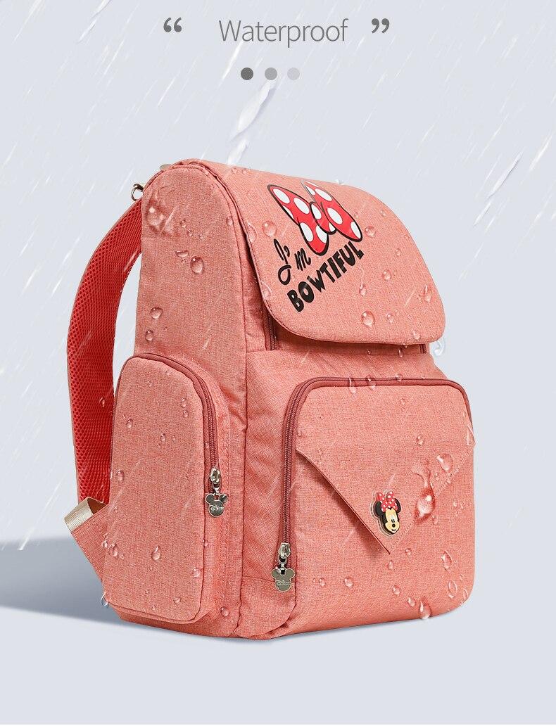 Disney Diaper Nappy Bag USB Heating Mother Maternity Travel Backpack Large Capacity Nursing Bag Baby Care Mummy Stroller Bag