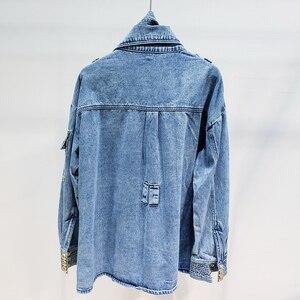 Image 5 - Haute qualité nouvelle mode 2020 veste de créateur femmes laçage ceinture en relief Lion boutons Denim veste