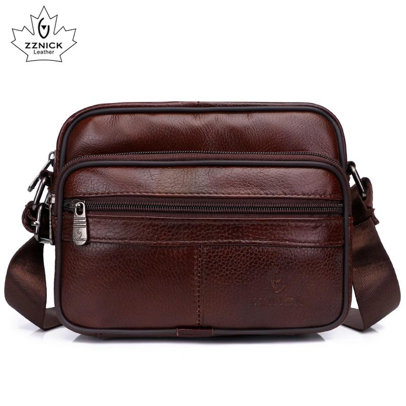 Men's Shoulder Bag Messenger Bags Genuine Leather 2020 Flap Crossbody Handbag Male Leather Shoulder Bags Large Capacity ZZNICK