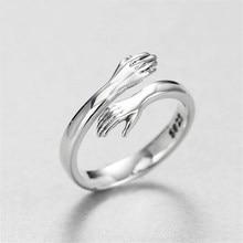 Gorąca nowa europejska i amerykańska biżuteria miłość przytulić pierścień moda Retro fala przepływu otwarty pierścień uścisk pierścień wyraża miłość urodziny prezent
