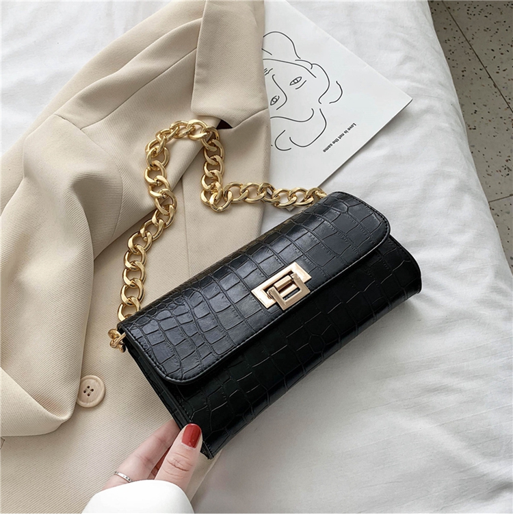 Crocodile Pattern Vintage Soild Color Small Square Bag For Women 2020 summer Handbag And Small Chain Bags Fashion Armpit Bag (18)