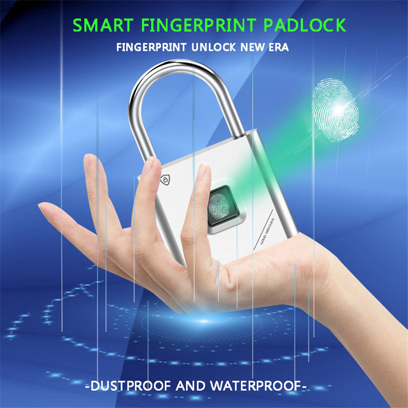 Fingerprint Lock Smart Padlock Thumbprint Door Padlocks Portable Anti-Theft Fingerprint Lock For Bag Drawer Suitcase