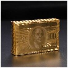 24K Gold Poker Cards Luxury Foil Playing Dollar EUR Set Plastic Magic Card Waterproof