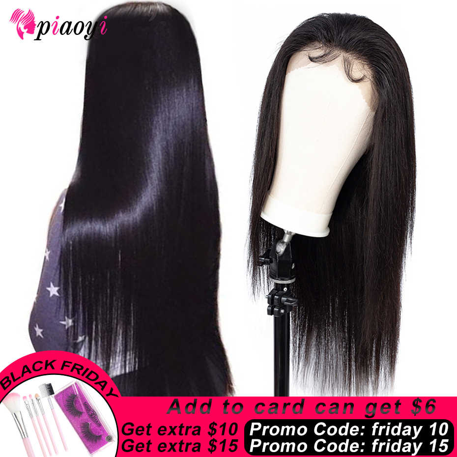 Piaoyi Lace Front Human Hair Wigs For Black Women Brazilian Straight Hair 10-24 Inch 150 Density Lace Front Wig Remy Hair